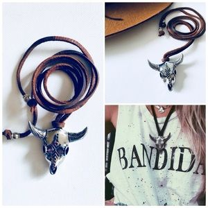 NWOT🌵Cow skull & Brown Leather Boho Necklace